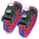 Camping emergency tactical compass and SOS led light 550 paracord bracelet