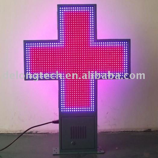 CE RoHS red blue bicolor 48*48pixel outdoor P16 programmable animation led pharmacy screen billboard