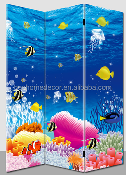 nice sea world led room divider living room canvas partition folding screens