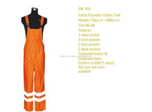 En 471 class2 orange reflective safety bib pants trousers