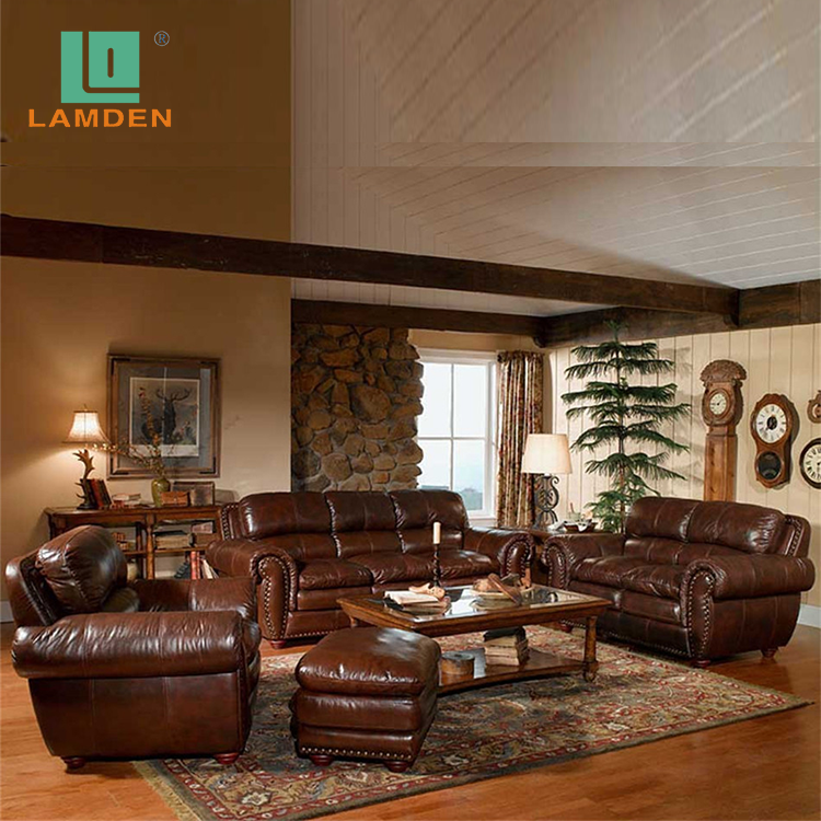 European Style Antique 1+2+3 Leather Sofa Set Classic Living Room Furniture