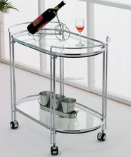 Modern living room hotel restaurant wine food trolley cart furniture chrome steel frame tempered glass oval tea trolley
