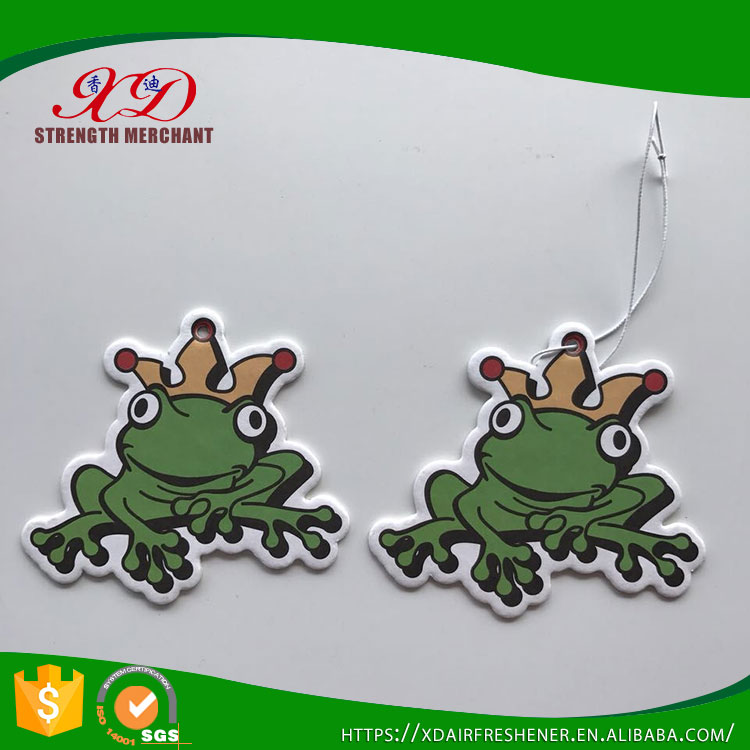 High Quality Customized Hanging Paper Frog Car Air Freshener for Advertising Gifts
