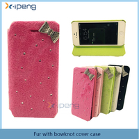 Newest fashion bling diamond luxury fur with bowknot cover case for vivo y51