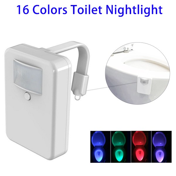 New Premium 16 Color LED Toilet Night Light with <strong>Sensor</strong>, Motion Activated Toilet Nightlight for Wholesale