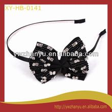 fashion adult hair accessories crystal bow beads headband with diamonds