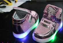 Children led Shoes 2016 New Hello Kitty Rhinestone Led Shoes Girls Princess Cute Shoes With Light