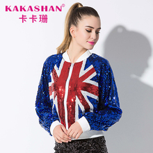 Sequin Cheer Dance Costume Designs Bomber Jacket Hip Hop