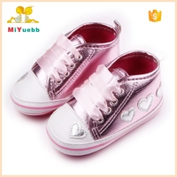 Wholesale Heart Pattern Riband Baby Girls Hard Sole New Style Flat Baby Girls Shoes