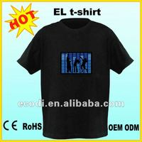 hottest ! Flashing! battery light clothes/image el t-shirt for Christmas