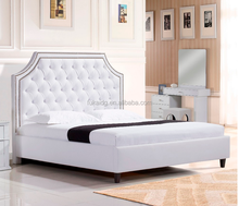 2017 luxury Euro Classic antique style White PU leather bed bedroom furniture soft beds frame