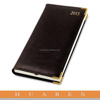 Huaben 2016 black cover PU leather & paper notebook for gold color metal edges