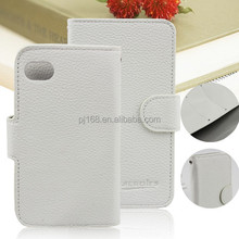 Factory Supply Lychee Grain Stand Wallet Leather Flip Case for BlackBerry Q10