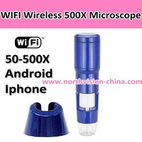 wifi travelling microscope with distance 30 meters, 8 led, 50X-500X