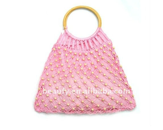 kniting paper straw bag with rattan handle