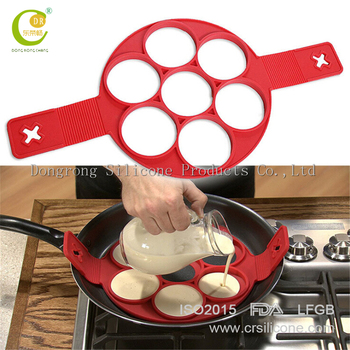 2017 New Arrival FDA 100% food grade no leak fantastic perfect flippin 7 cavity silicone pancake mold,egg ring mold,pancake mold