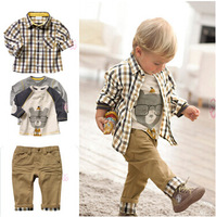 Wholesale Autumn baby clothes 3pcs casual baby boys cloting sets T-shirt+shirt+pant