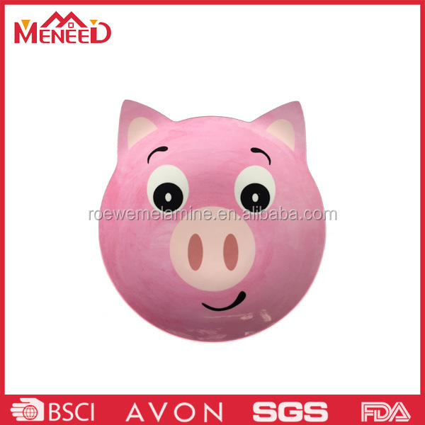 Popular design children pink color pig shaped plastic plate