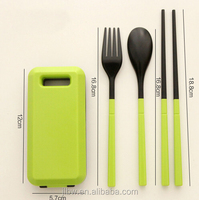 ABS Folding Plastic travel cutlery with square case