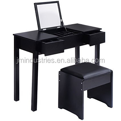 Wooden Dresser Black Makeup Dressing Table with Flip Top Mirror 2 Drawers