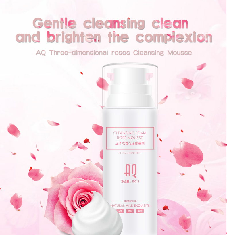 Rose Cleansing Mousse Bubble Moisturizing skin care Deep Cleansing Moisture shrink pores Facial Cleanser