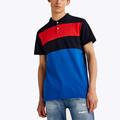 Cool design pique two color contrast polo shirt