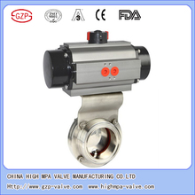 Sanitary grade used for syrup, beer, beverage, milk industrial pneumatic normal open normal closed butterfly valve