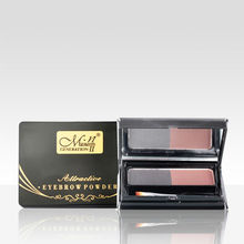 Menow E12006 cosmetic color makeup hot selling two color in one eyebrow pressed powder with brush