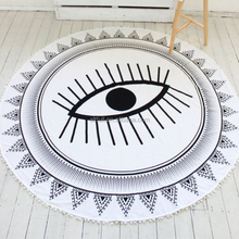 China Supplier Custom 100% Cotton Velour Reactive Printed Round Beach Towel with Tassels
