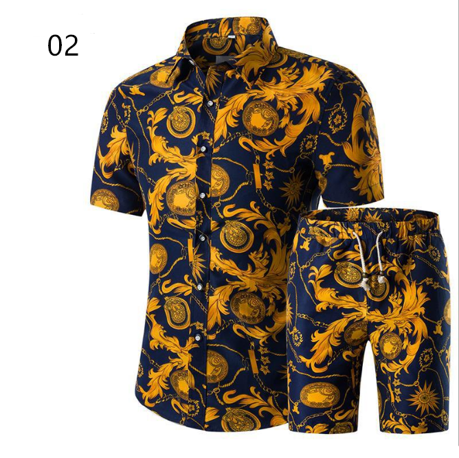 c10223a summer men two piece set clothing short sleeve shirt and shorts