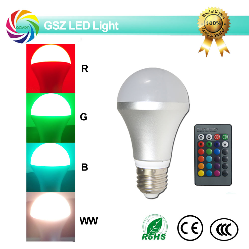 4w Color changing rgb led light <strong>bulb</strong> e27 with 24 Keys IR remote control