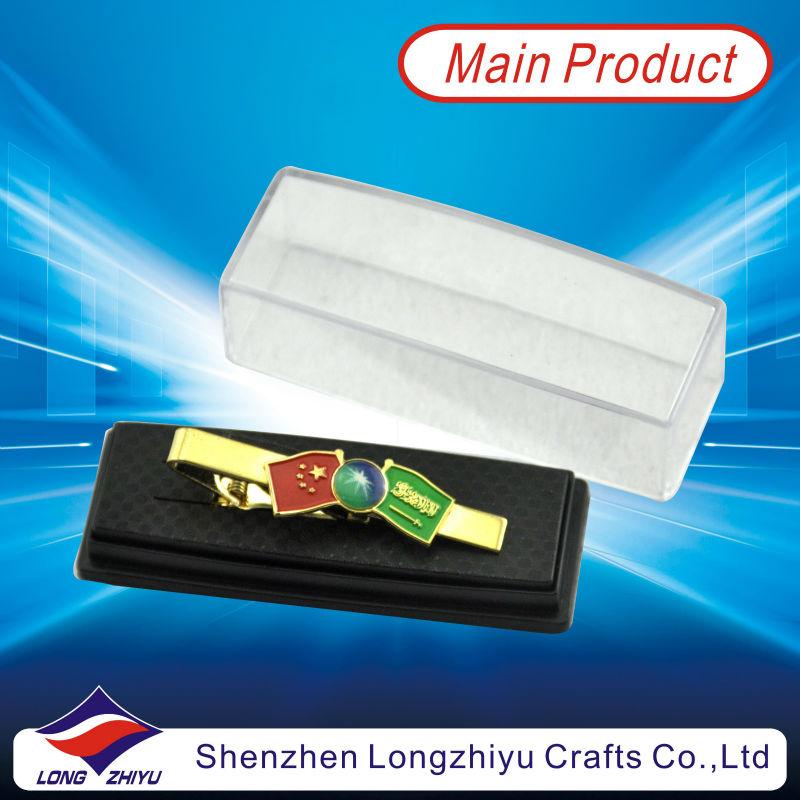 Bolo clips for clips on ties and flag design tie clip with plastic box