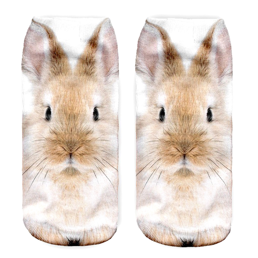 New 3D Printed Sand Rabbit Women Socks Wholesale Cute Low Cut Ankle Sock Multiple Colors Fashion Style <strong>W11</strong>