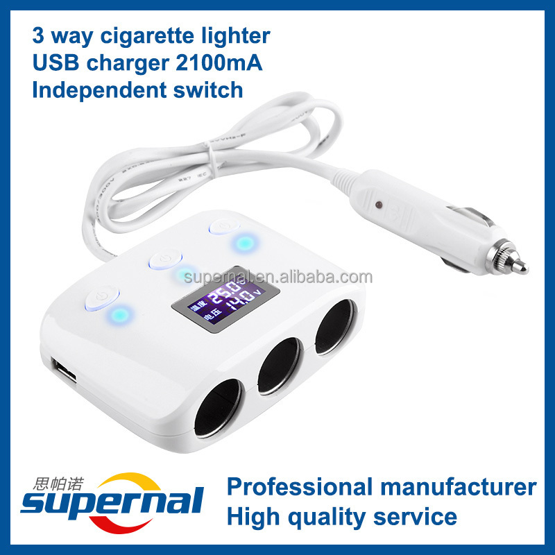 <strong>W11</strong> 2014 3 Way Car Cigarette Lighter with Dual USB Car Charger