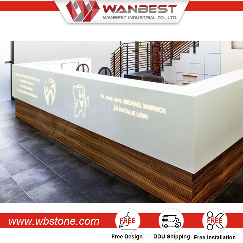 Acrylic Solid Surface Gym Counter luxury reception counter design