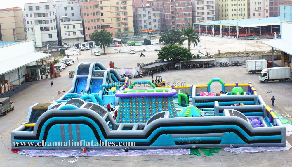 Huge Indoor Inflatable Theme Playground Park With Slides Climbing Obstacle Course
