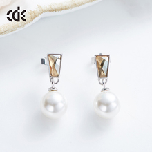 Crystals from Swarovski Sterling Silver pearl stone earring