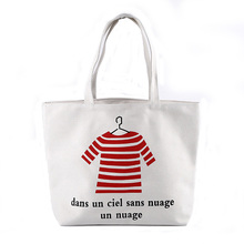 Fashion standard size promotional recycled natural color cotton tote shopping bag