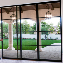 industrial steel glass doors and frames with windows grill iron sliding door design