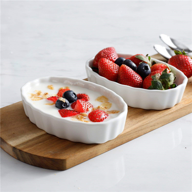 High quality hotel restaurant white food serving bowls porcelain souffle bowl for dessert