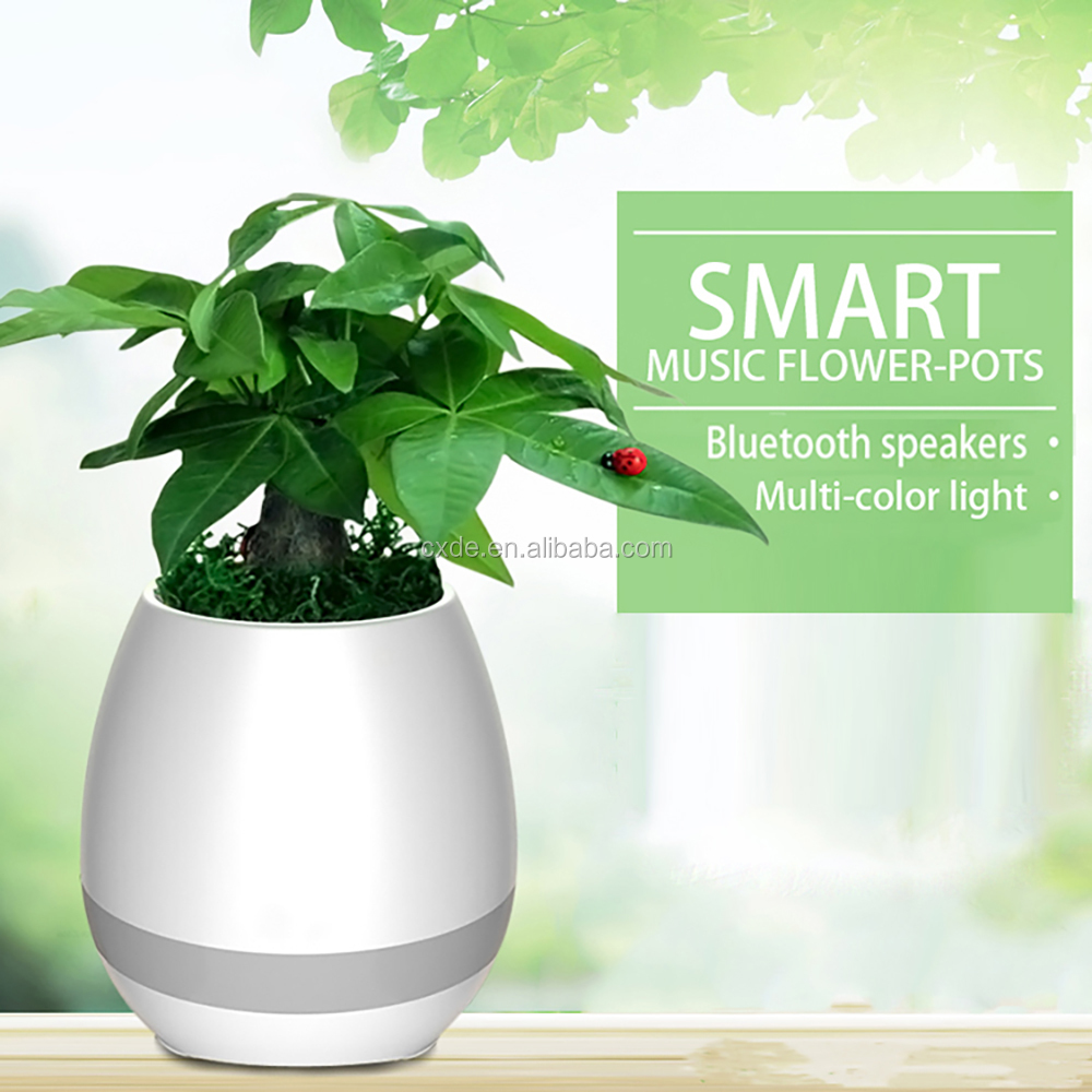 Smart ornamental plastic music flower pot with led night light and bluetooth spearker
