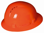 Experienced protection worker wear colorful safety helmet