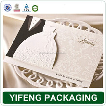 Factory direct wholesale white groom and bride foldable wedding card