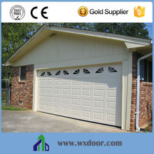 overhead automatic garage door with small windows and CE certificate