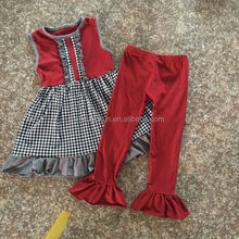 Hot Sale Houndstooth Outfits Popular Children Fall Winter Clothing Sets Baby Girls Outfits