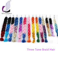 New African Hair Braiding Style Ombre Color Synthetic Braids Hair Weaving 24
