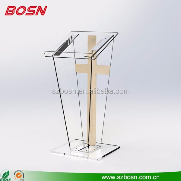 Modern design luxury plexiglass church pulpit podium clear acrylic lectern decoration
