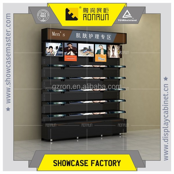 Wooden glass cosmetic display stands ,men's skin care products display,for mall kiosk
