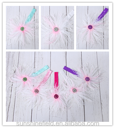 feather headband top baby headband flower girl headband