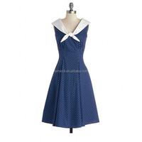 New Fashion Adjustable Sleeveless Polka Dot Women Vintage Dresses Shirt Professional Dress Factory